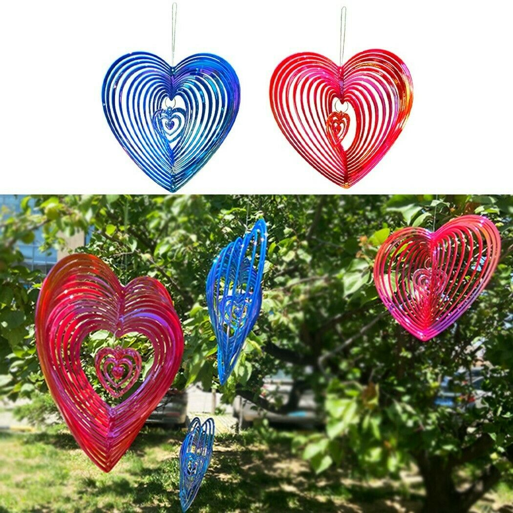 Heart Wind Chimes Hanging Spinner Home Garden Decoration Yard Decor Outdoor