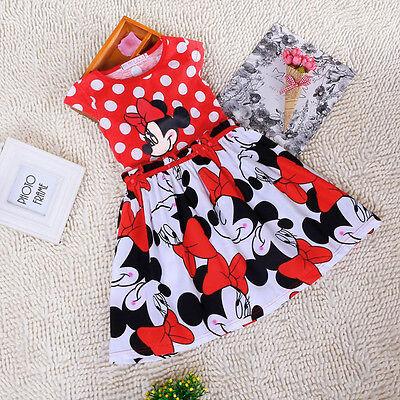 Cartoon Minnie Mouse Princess Sleeveless Party Girls Outfits Summer Dress Disney