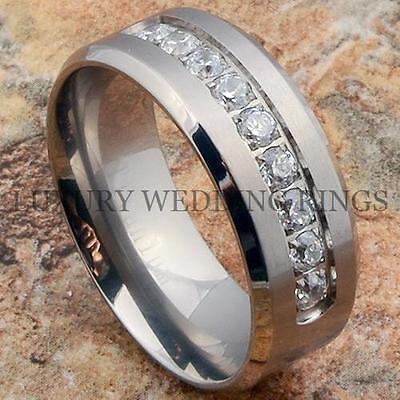 Titanium Ring Men's Wedding Band Diamonds Simulated Infinity Jewelry Size 6-13