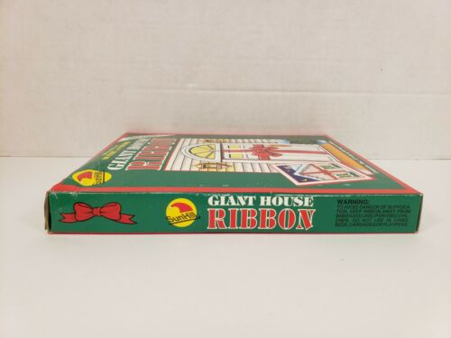 "Giant Ribbon Red 66/' x 8/"" Car House Plastic Wrap Christmas Sun Hill Vintage 1992"