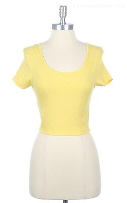 Cute Scoop Neck and Back Fitted Crop Top Short Sleeve Sexy Cotton Span S M L