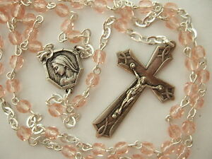 Catholic-Rosary-Rose-Pink-Glass-4mm-small-Glass-beads-Vintage-Crucifix-amp-medal