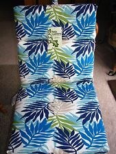 Set of 4 CHAIR CUSHIONS Patio MANCHESTER KELP Blue Decorative Pattern NEW!!