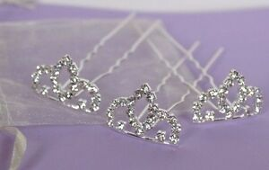Wedding Tiara Hair Pins Stunning Princess Diamante Bridal & Bridesmaids Hair x 3