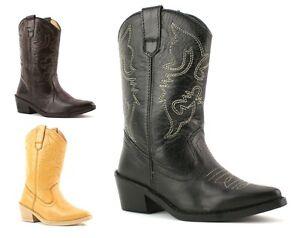 Ninas-Ninos-Bebes-Nuevo-Verdadero-Cuero-Cowboy-Western-Tobillo-becerro-Botas-Zapatos-Talla