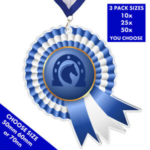 Details about ROSETTE HORSE EQUESTRIAN ACRYLIC MEDAL 50mm BLUE, PACK OF 10  & RIBBONS, 3 SIZES