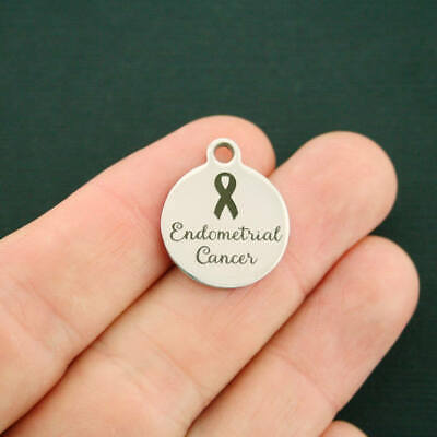 Endometrial Cancer Stainless Steel Charms Awareness Ribbon BFS2116