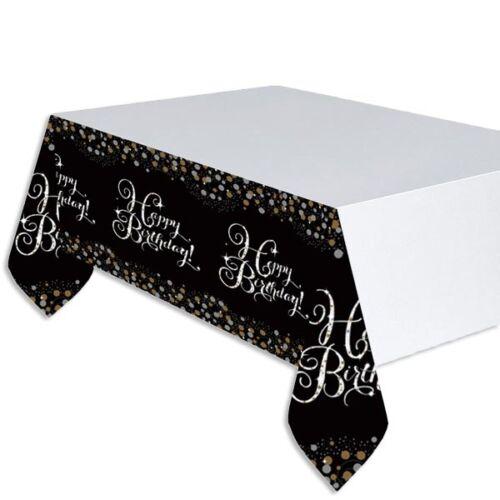 Happy Birthday-Tischdecke aus abwaschbarer Folie gold-schwarz 1,37m x 2,59m