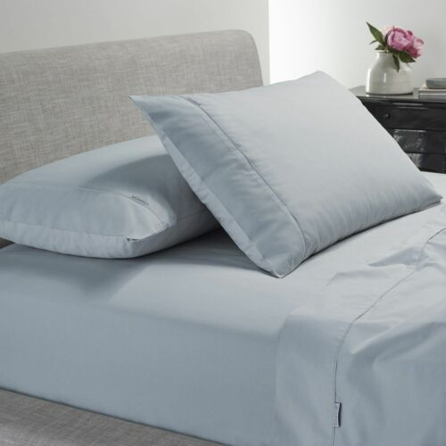 Bianca Heston 300TC Cotton Percale Sheet Sets Machine WashableSteel Blue