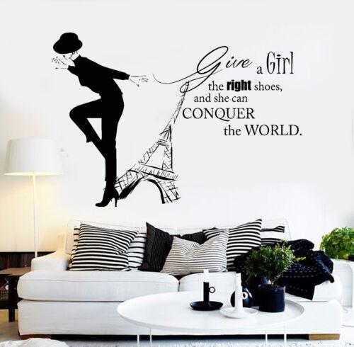 ig3682 Vinyl Wall Decal Paris Femme Citation FASHION GIRL TOUR EIFFEL Stickers