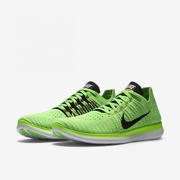 big sale 24b5f 81039 Nike Free Run RN Flyknit Hommes Volt Noir Chaussures 831069-300 Running Chaussures  Noir