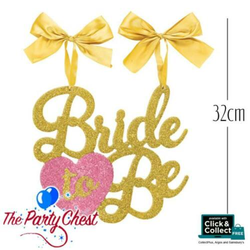 BRIDE TO BE GLITTER CHAIR SIGN WITH BOWS Hen Party Gold Glitter Decoration 41583