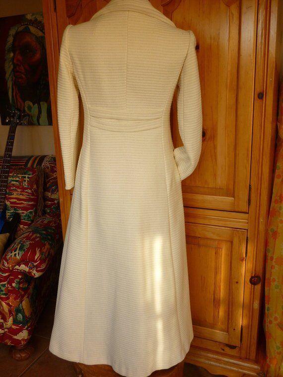 Vintage 60 70s Midi Maxi Coat Winter White Wool S… - image 4