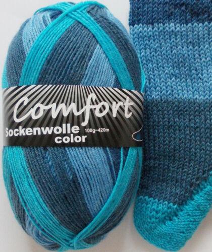 Comfort Wolle 4-fach 1016.07 7,50 Euro//100g Sockenwolle 100g blau-türkis
