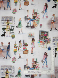 Ladies-Girls-Cafe-Florist-Shopping-Cotton-Fabric-Kaufmann-C-039-est-Chic-By-The-Yard