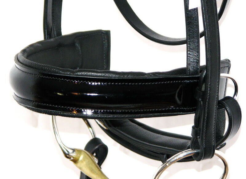 FSS German Leather PATENT GLOSS Comfort Padded Crank CAVESSON Caveson Noseband