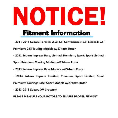 For Subaru Forester 2.5L Impreza XV Crosstrek Rear Brake Rotors /& Ceramic Pads