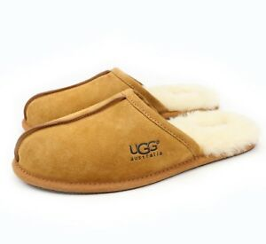 3583686be1f Details about UGG Australia Mens Scuff Chestnut Sheepskin Suede Slippers US  18 NEW!