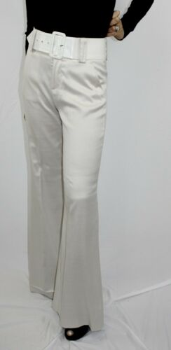 Alice and Olivia white high waisted belted flared