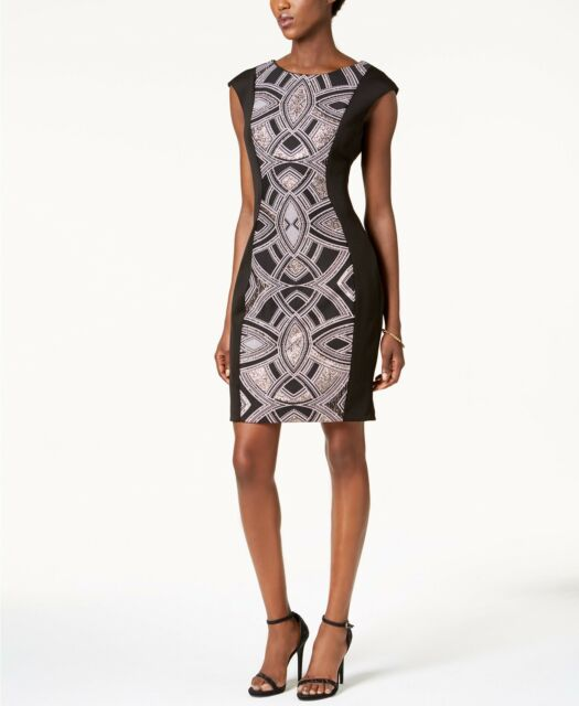 Sangria Womens Black Glitter Printed Panel Sheath Sleeveless Dress