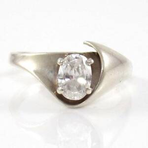 Vintage-Kabana-Sterling-Silver-Clear-CZ-Solitaire-Ring-Size-7-25