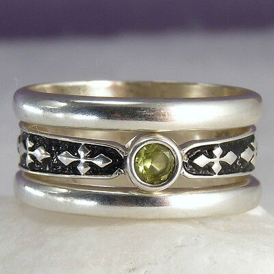 Triple Rings STACK SET Size US 7.75 SilverSari Solid 925 Sterling Silver PERIDOT