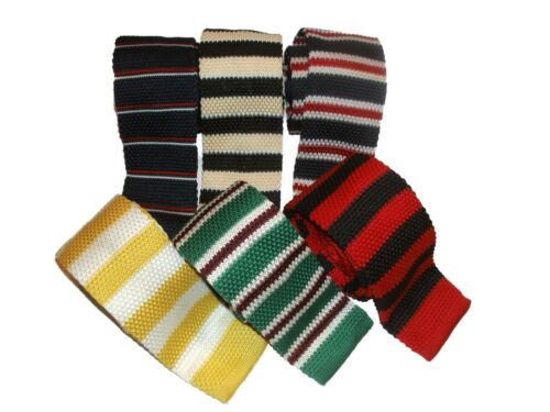 KNITTED TIES VARIOUS COLOURS STRIPED FAST SALE GIFT IDEA UK SELLER