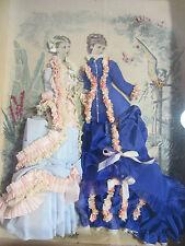 Antique Victorian La Mode Illustree Fabric Embellished Shadow Box Fashion Print