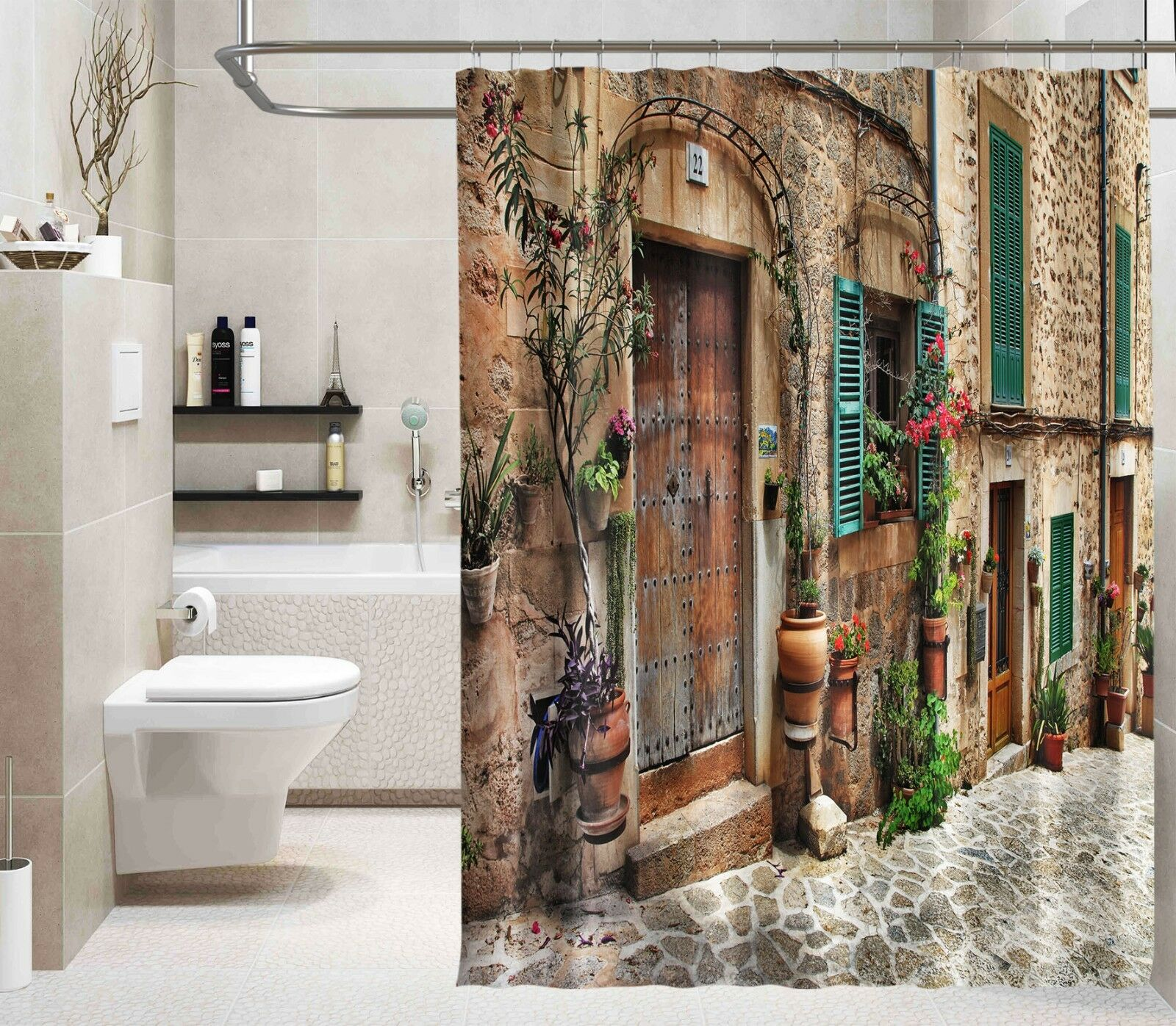 3D Retro Town 12 Shower Curtain Waterproof Fiber Bathroom Home Windows Toilet