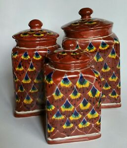 3 Talavera Styled Canister Set Kitchen Containers Mexican Mexico Pottery Ebay