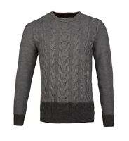 Mens Guide London Wool Blend Cable Jumper Knit Crew Knitwear Grey Navy Contrast