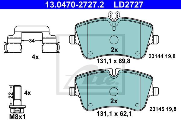 ATE 13.0460-2727.2 Bremsbeläge Bremsbelagsatz für MERCEDES-BENZ