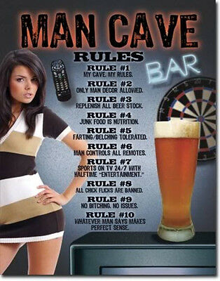 Man Cave - Rules Beer Bar Metal Tin Sign Metal Poster