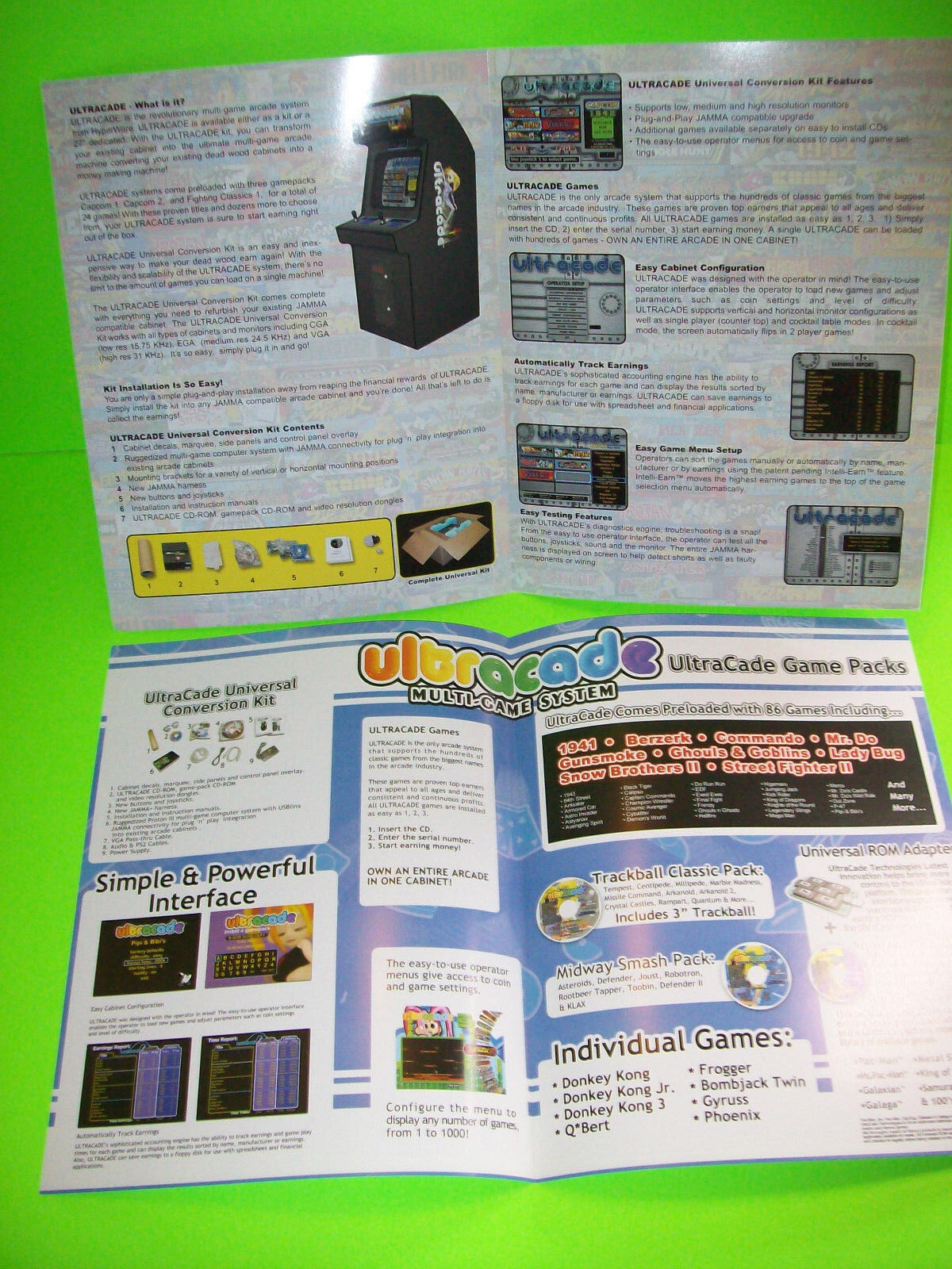 Ultracade Technologies Original Multi Game System Video Arcade Game Sales Flyers