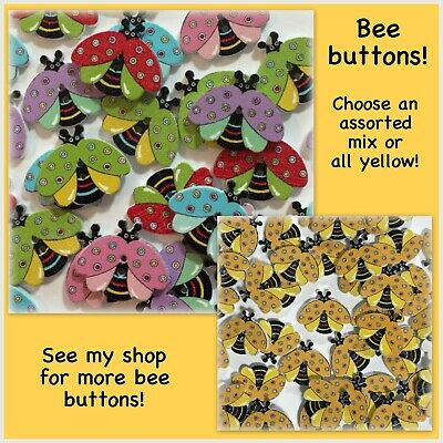 21mm x 14mm Wooden Bumble Bee Buttons 2 Hole Sew On in Pack Sizes of 2 5 or 10