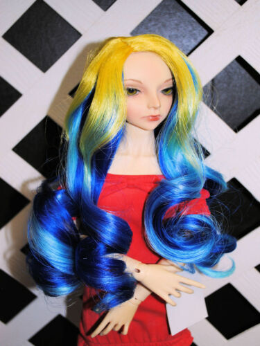 "Doll Wig /""Mermaid/"" size 10//11 SAMPLE in /""Shades of Yellow//Blue/"""