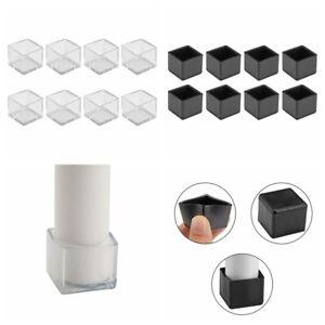 Square-Chair-Furniture-Leg-Cap-Cover-PVC-Plastic-Floor-Protectors-Black-Clear
