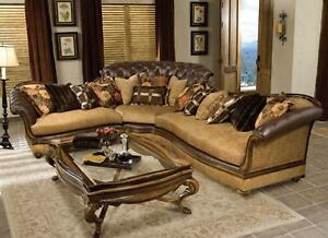 Beau Image Is Loading Luxury Tufted Sectional Sofa Rark Brown Wood Special
