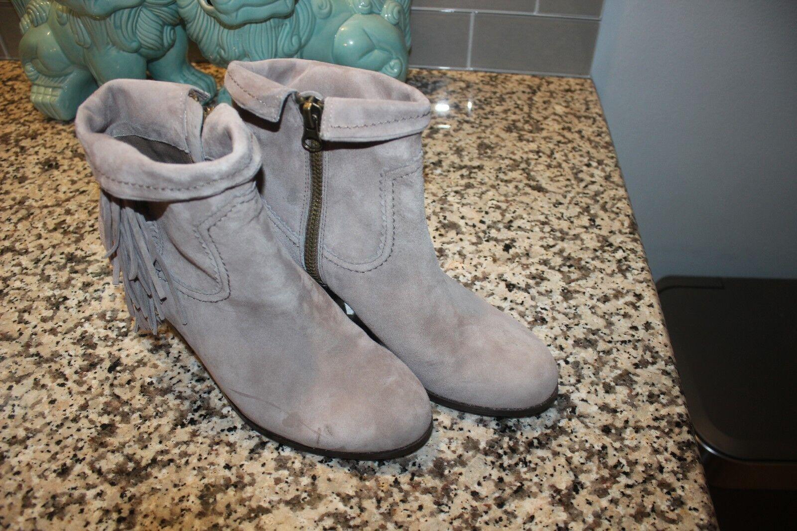 NWOB 0 Sam Edelman Louie GREY Suede Leder Fringe Ankle Boot Zip 9M
