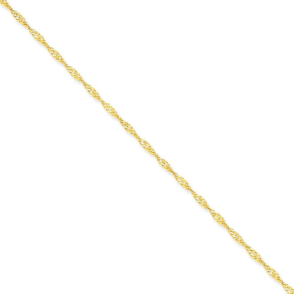 14k Yellow gold 2mm Singapore Chain Bracelet 7 Inch