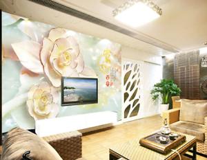 3D gold Pink Flowers 9 Wall Paper Murals Wall Print Wall Wallpaper Mural AU Kyra
