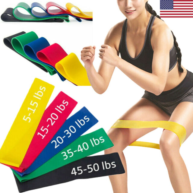 Elastic Resistance Loop Bands Exercise Crossfit Yoga Fitness Gym Training lot US