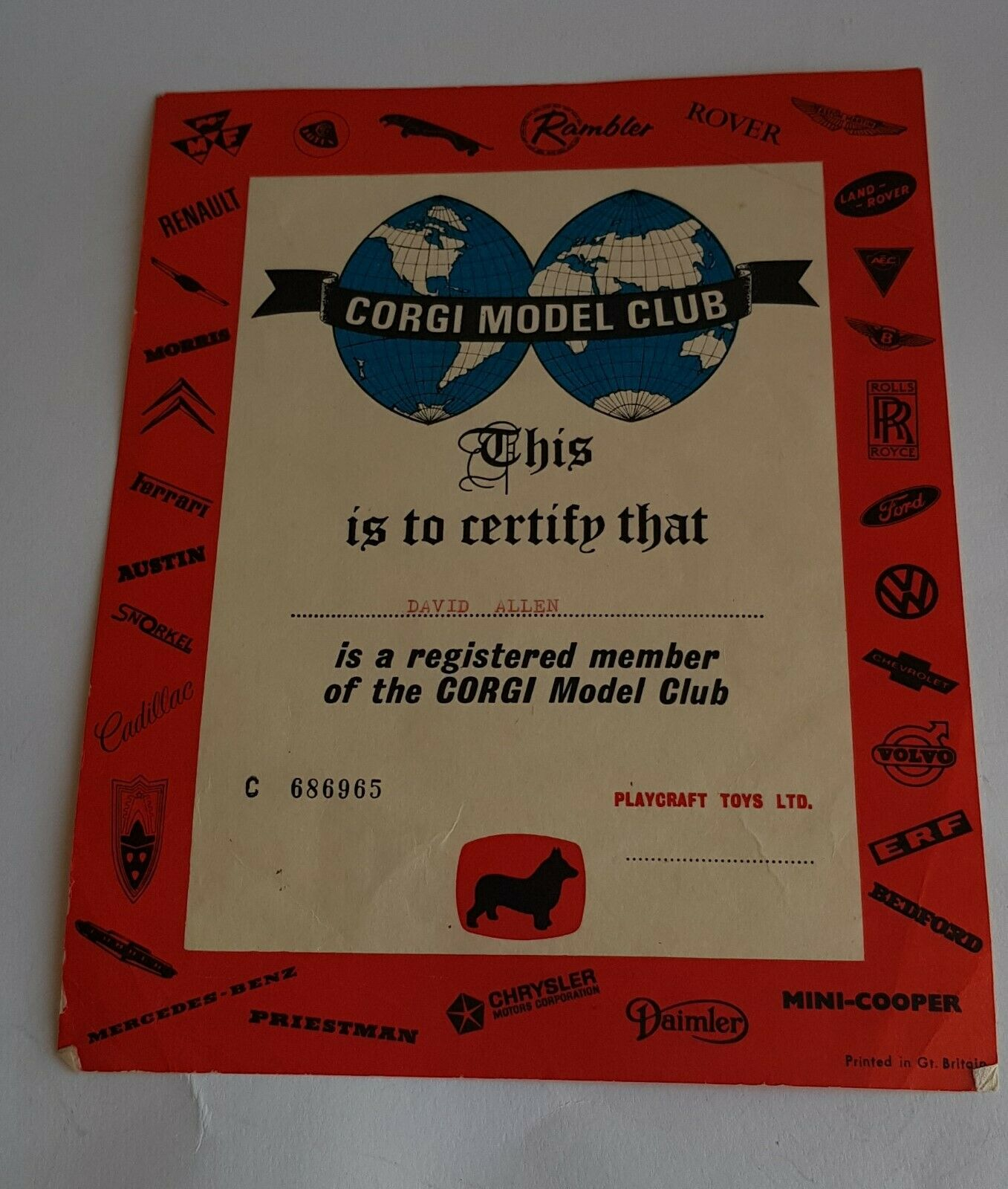 Original 1960's Corgi Toys Club Certificate, - Superb Very Near Mint Condition.
