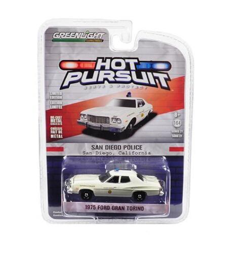1//64 Greenlight 1975 Ford Gran Torino San Diego Police Car Diecast Model 42840A