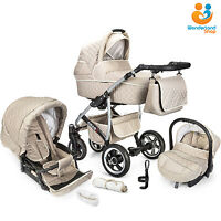 Baby Pram Buggy Stroller 3in1 Pushchair Car Seat Carrycot Travel System Freebies