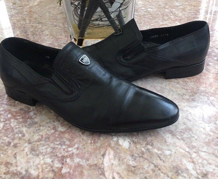 con il 100% di qualità e il 100% di servizio Mario Bruni Bruni Bruni Uomo nero Leather Logo Loafer Dress scarpe Dimensione 40 US 7 Made in   migliore offerta