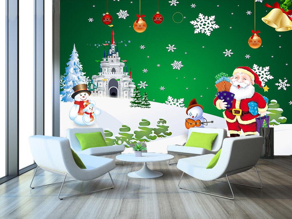 3D Castle Snowman Santa 6 Wallpaper Murals Wall Print Wallpaper Mural AJ WALL US