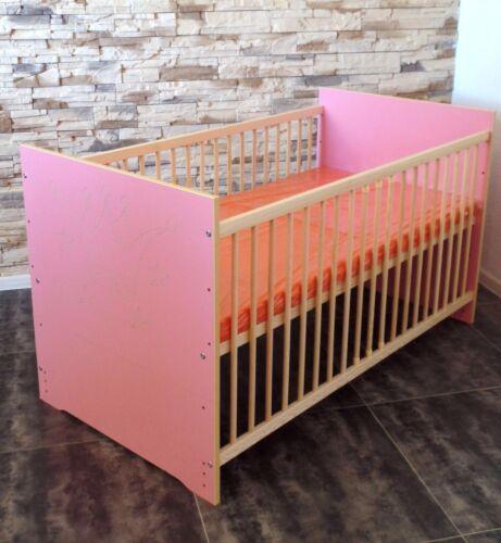 Lit pour enfant Gitterbett complet Set modulable 120 x 60 Rose Blanc Gravure