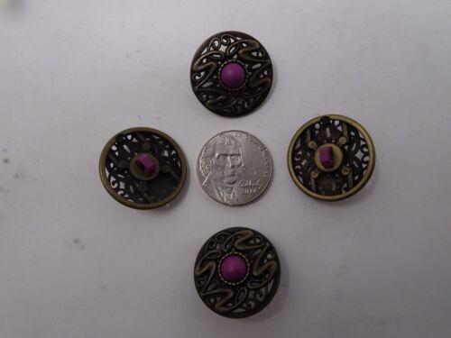 Vtg Ornate Art Deco Faux Purple Rhinestone Shank Buttons 15mm Lot of 10 88-2-11