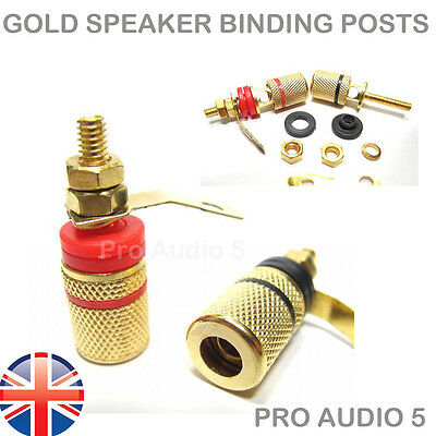 4x All Gold Speaker Binding Posts Terminal 4mm Sockets for Banana Plugs - 2 pair